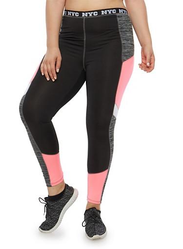 Plus Size Space Dye Athletic Leggings,BLACK,large