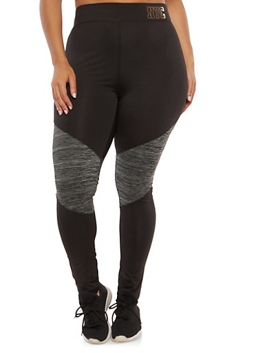 Plus Size Color Block Active Leggings,BLACK,large