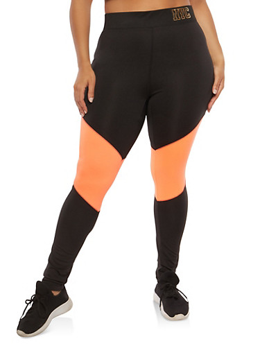Plus Size Color Block Active Leggings,CORAL,large