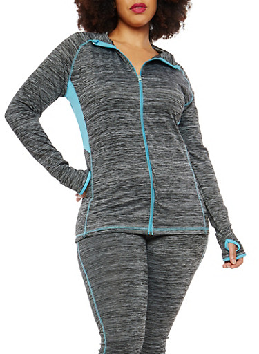 Plus Size Zip Up Color Block Sweatshirt,TURQUOISE,large