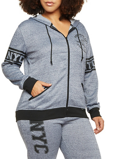 Plus Size Zip Front Hoodie with Brooklyn Graphic,BLUE,large