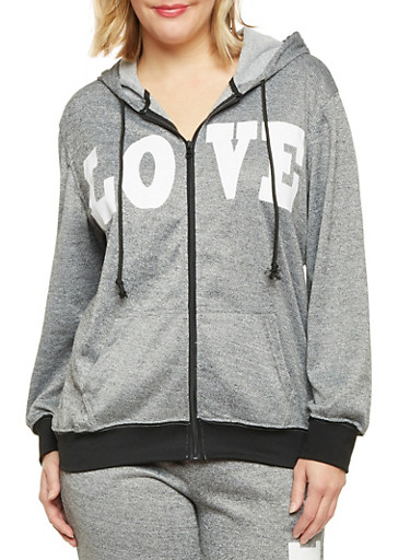 Plus Size Zip Front Hoodie with Love Print,BLACK,large
