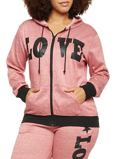 Plus Size Zip Front Hoodie with Love Print,BURGUNDY,large