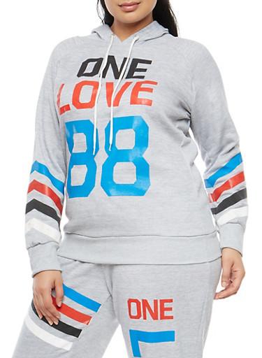 Plus Size One Love Graphic Sweatshirt,HEATHER,large