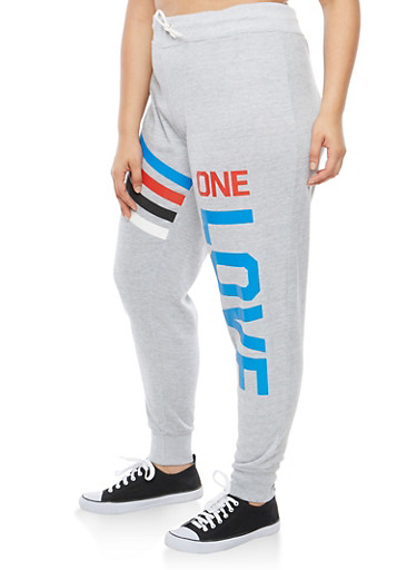 Plus Size One Love Graphic Sweatpants,HEATHER,large