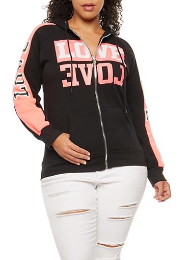 Plus Size Love Graphic Zip Front Hooded Sweatshirt,BLACK,large