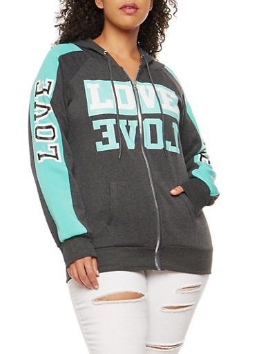 Plus Size Love Graphic Zip Front Hooded Sweatshirt,CHARCOAL,large