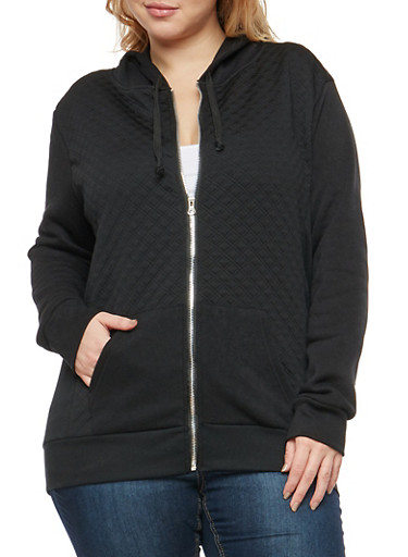 Plus Size Quilted Stitch Hooded Sweatshirt,BLACK,large