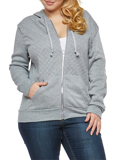 Plus Size Quilted Stitch Hooded Sweatshirt,GRAY,large