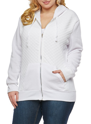 Plus Size Quilted Stitch Hooded Sweatshirt,WHITE,large