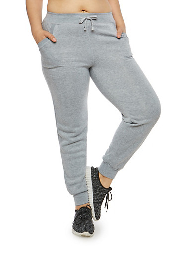 Plus Size Quilted Pocket Sweatpants,GRAY,large