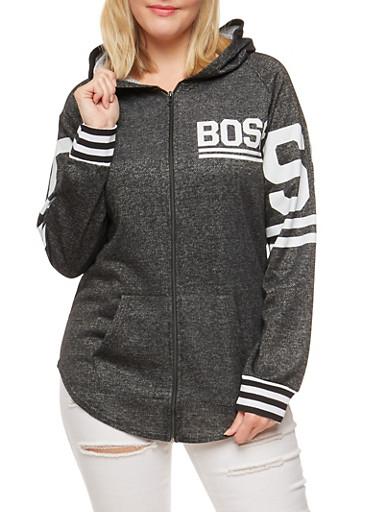 Plus Size Zip Front Graphic Sweatshirt,GRAY PTN,large