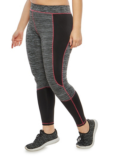 Plus Size Marled Color Block Activewear Leggings,CHARCOAL,large