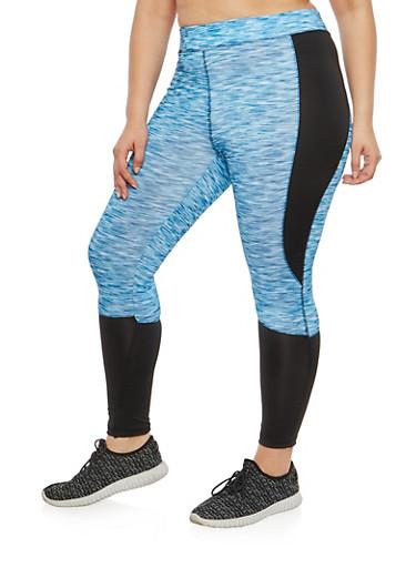 Plus Size Marled Color Block Activewear Leggings,BLACK/BLUE,large