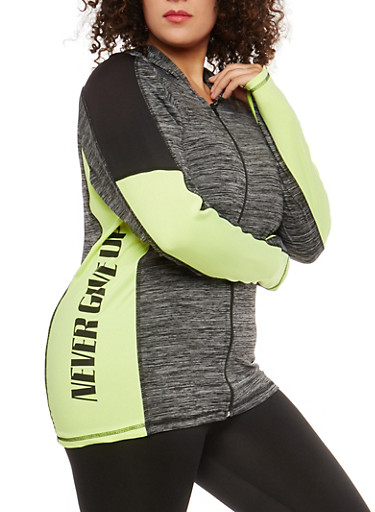 Plus Size Never Give Up Graphic Sweatshirt,LIME,large