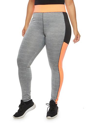Plus Size Color Block Activewear Leggings,CORAL,large