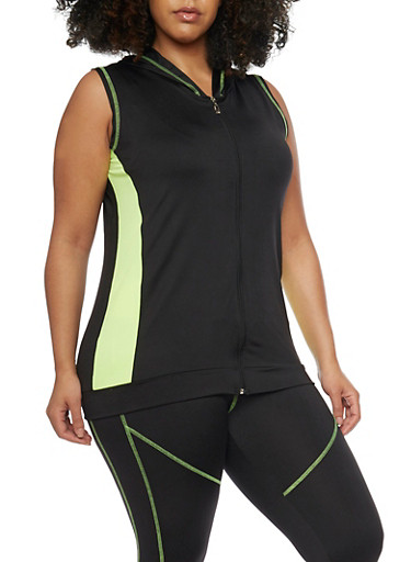 Plus Size Sleeveless Activewear Hoodie,LIME,large