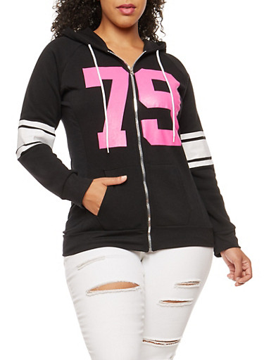 Plus Size 79 Graphic Zip Front Hooded Sweatshirt,BLACK,large