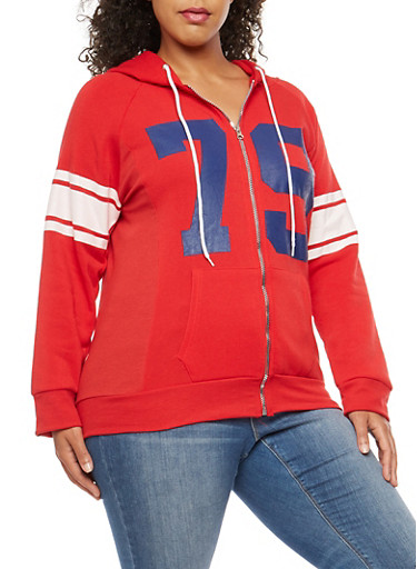 Plus Size 79 Graphic Zip Front Hooded Sweatshirt,RED,large