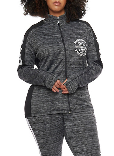 Plus Size Brooklyn Graphic Color Block Track Jacket,BLACK,large