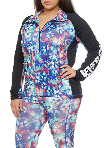 Plus Size Tie Die Activewear Half Zip Top,BLUE,large