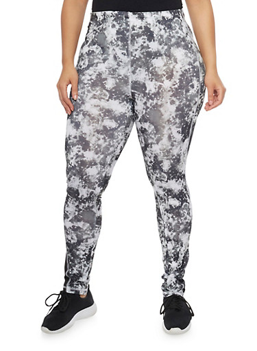 Plus Size Tie Dye Contrast Stitch Activewear Leggings,BLACK,large