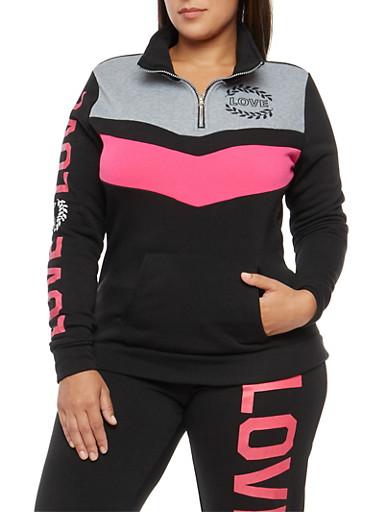 Plus Size Color Block Love Graphic Sweatshirt,BLACK,large