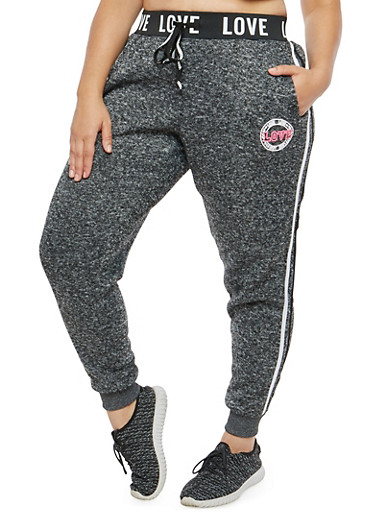 Plus Size Marled Love Graphic Sweatpants,CHARCOAL,large