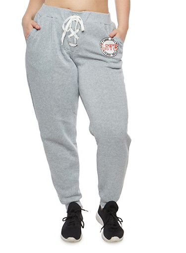 Plus Size Lace Up Graphic Sweatpants,GRAY,large