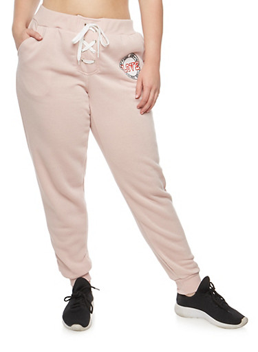 Plus Size Lace Up Graphic Sweatpants at Rainbow Shops in Daytona Beach, FL | Tuggl