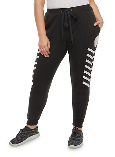 Plus Size Heart Graphic Sweatpants,BLACK,large