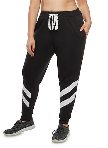 Plus Size Two Stripe Sweatpants,BLACK,large