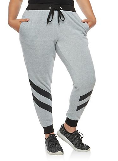 Plus Size Two Stripe Sweatpants,GRAY,large