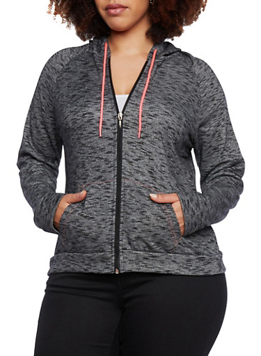 Plus Size Marled Knit Hoodie,CHARCOAL,large