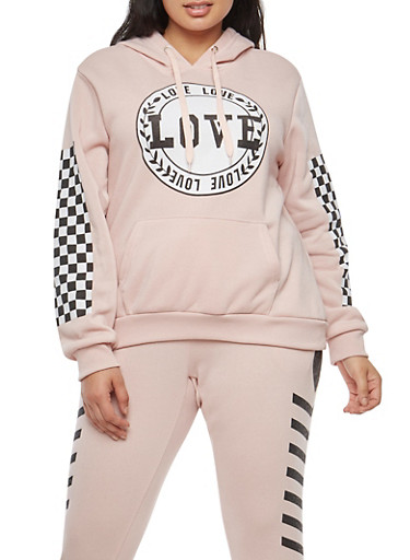 Plus Size Love Checkered Graphic Sweatshirt,MAUVE,large