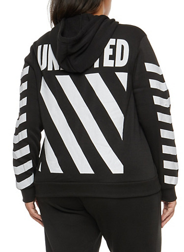 Plus Size Striped Graphic Hooded Sweatshirt,BLACK,large