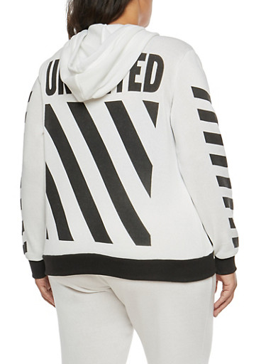 Plus Size Striped Graphic Hooded Sweatshirt,WHITE,large