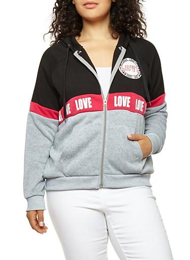 Plus Size Love Graphic Color Block Sweatshirt,BLACK,large