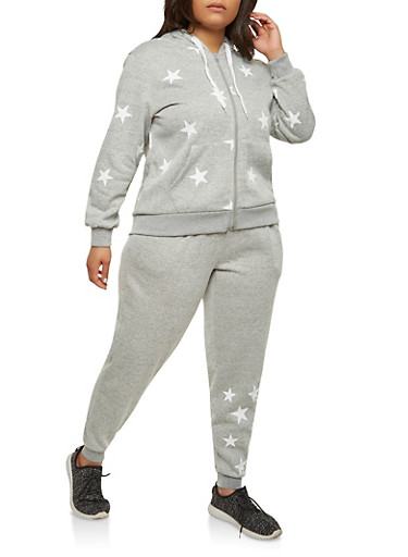 Plus Size Star Graphic Hooded Sweatshirt,HEATHER,large