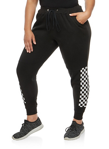 Plus Size Checkered Detail Sweatpants,BLACK,large