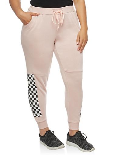 Plus Size Checkered Detail Sweatpants,MAUVE,large