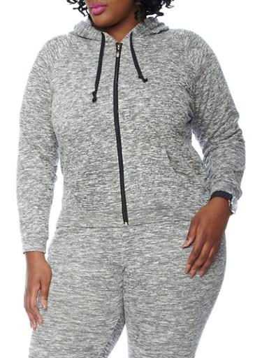 Zip Hoodie Knitting Pattern : Plus Size Marled Knit Zip Up Hoodie - Rainbow
