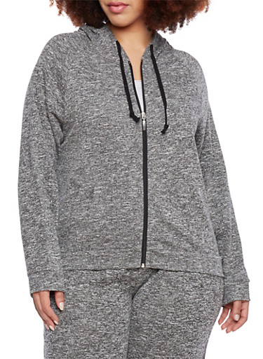 Plus Size Zip Front Hoodie with Contrast Drawstring,BLACK-CHARCOAL,large