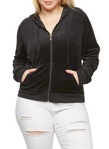 Plus Size Hooded Velour Sweatshirt,BLACK,large