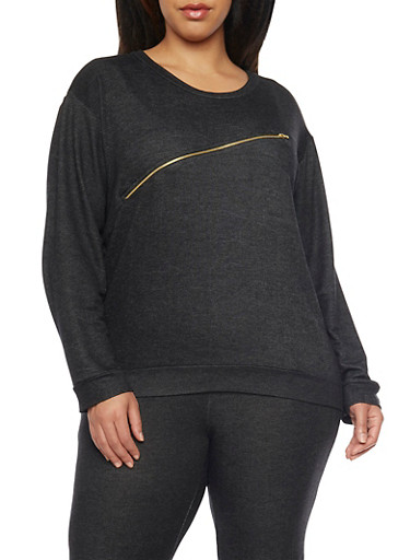 Plus Size Long Sleeve Zip Trim Sweat Top,BLACK,large