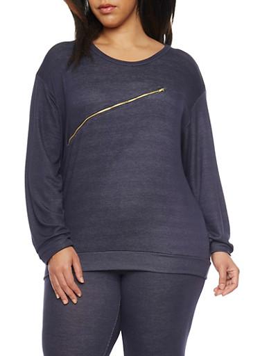 Plus Size Long Sleeve Zip Trim Sweat Top,DENIM BLUE,large