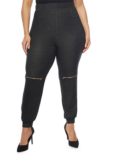 Plus Size Joggers with Zipper Knees,BLACK,large