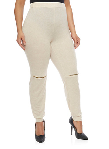 Plus Size Joggers with Zipper Knees,MOCHA,large