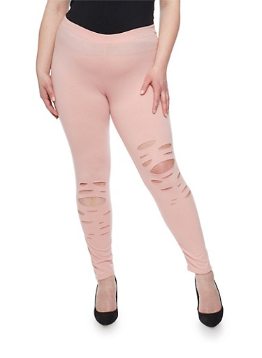 Plus Size Lasercut Leggings,MAUVE,large