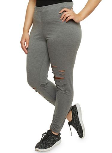 Plus Size Lasercut Leggings,GRAY,large